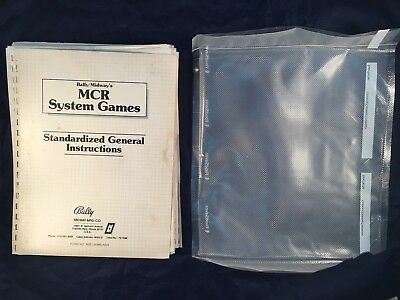MCR System Games Standardized General Instructions - Bally/Midway's