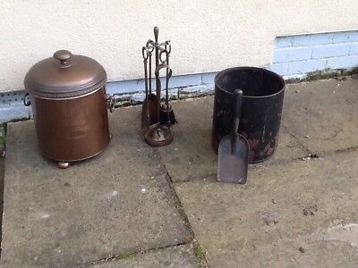 Brass & copper effect coal scuttle and 4 pc companion set (Mid century  vintage)