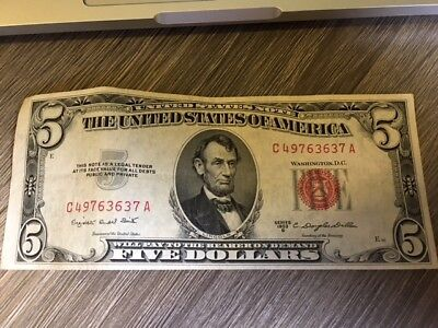 Vintage $5 1953-B United States Note Lincoln Red Seal Usn Two Dollar Bill