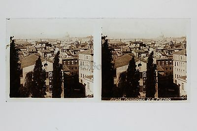 Panorama of Rome Italy Plate Glass Stereo Stereoview Vintage