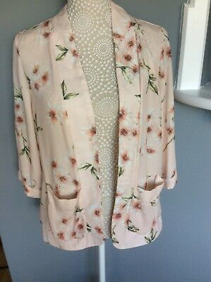 Ladies Peach Floral Jacket by New Look Size 14 NWT