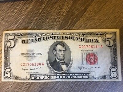 A 1953 $5 Five Dollar Red Seal Small Size US Legal Tender Note Bill Paper Money