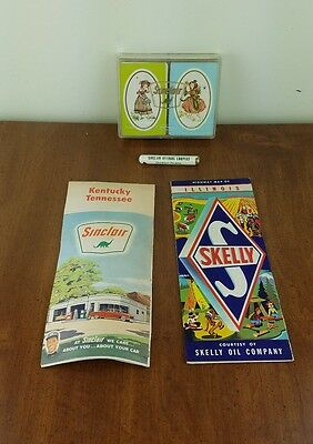 Lot of Vintage Sinclair and Skelly Gasoline Oil Advertising Maps Playing Cards
