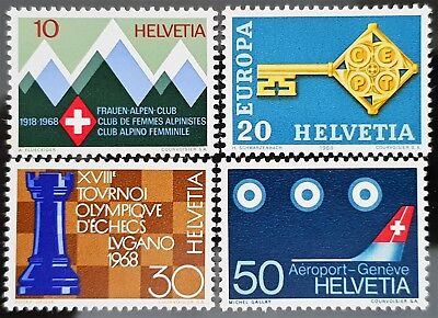 Switzerland 1968 Sc # 487 to Sc # 490 Mint MNH Stamps Set