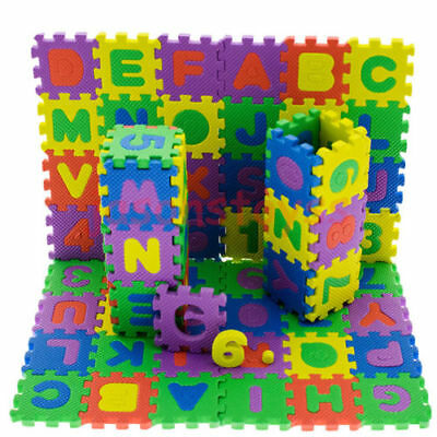 36 Pcs Baby Kids Educational Alphanumeric Puzzle Mats Small Size Child Toy HIGH