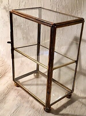 Brass And Glass Curio Miniature Display Case Cabinet Table Top Ball Footed
