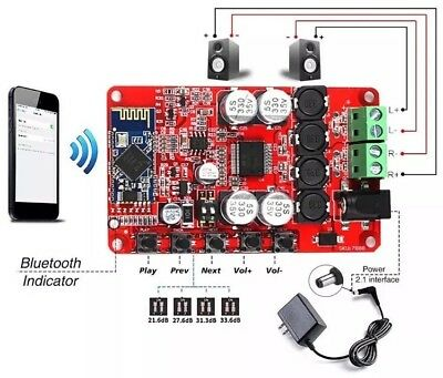 TDA7492P 2x50W Wireless Bluetooth 4.0 Audio Amplifier Receiver Board DC 12V-24V