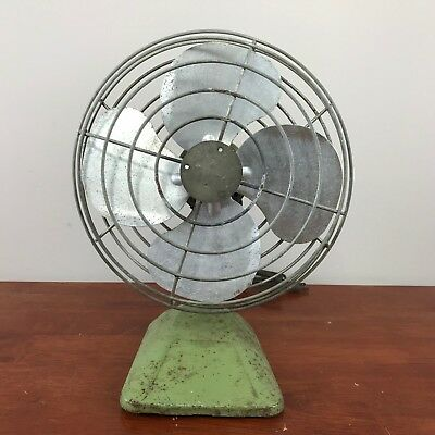 """Vintage Desk Fan 10"""" Steel Blade Unknown Brand Model 1029 Tested with Flaws"""