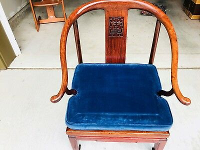 Beautiful Chinese Rosewood horse shoe Arm Chair with Seat Cushion L@@K