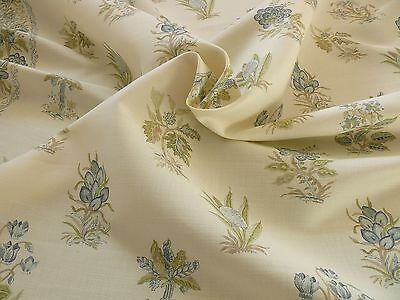 Scalamandre  2.5 Yd Flower Hill Linen Union Cloth Print Blue Green