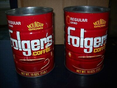 Folgers Regular Grind Mountain Grown Coffee 1 Lb Metal Can Lot Of 2 With Lids