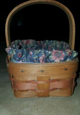 1991 Longaberger Small Basket 5 x 5 x 2½ w/ Liner and plastic protector