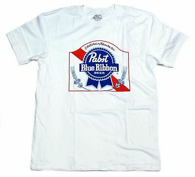 Pabst Blue Ribbon PBR Men's T-Shirt S-3XL WHITE beer red white