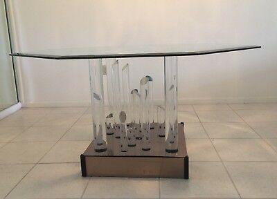 Fantastic Lucite Sculptural Dining Room Table MCM Octagon Glass 54 By 54