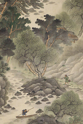 """JAPANESE HANGING SCROLL ART Painting Scenery """"Mountain and River""""  #E3845"""
