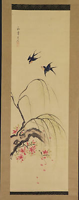 """JAPANESE HANGING SCROLL ART Painting """"Bird and Flower"""" Asian antique  #E3855"""