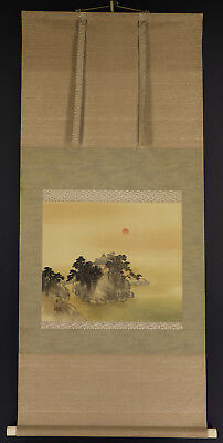 JAPANESE HANGING SCROLL ART Painting Scenery Asian antique  #E3862