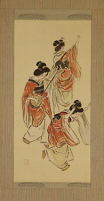 """JAPANESE HANGING SCROLL ART Painting """"Dancing Beauty"""" Asian antique  #E3856"""