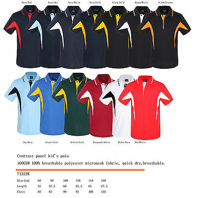 Kid's Breezeway contrast panel polo shirts 6,8,10,12,14,16 breathable,quick dry