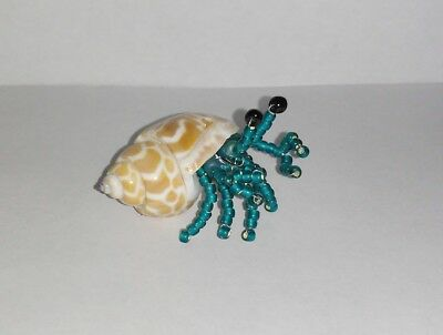 Handmade Glass Beaded Hermit Crab Real Shell Figurine Small Teal