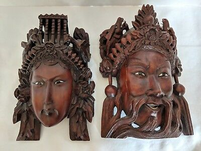 Beautiful! ANTIQUE HAND CARVED ROSEWOOD MASKS:  China, wall hanging, man & woman