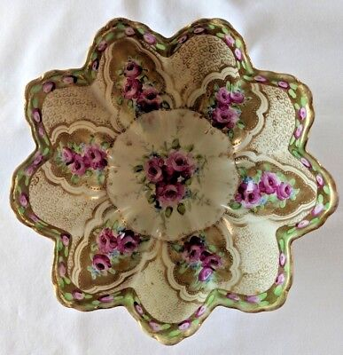 Beautiful!   ANTIQUE 3 FOOTED PORCELAIN BOWL: scalloped edges, floral motif, 7""