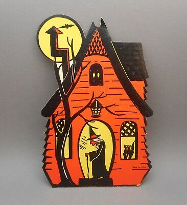 Vintage Beistle Luhrs Embossed Paper Haunted House Witch Halloween Decoration