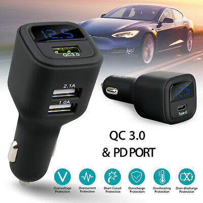 Type-C PD USB Fast Car Charger LED Voltmeter Qualcomm QC3.0 Quick Charge Adapter
