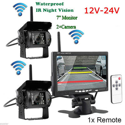 "7"" LCD Monitor 2X Wireless Rear View Backup Camera Night Vision For RV Truck Bus"