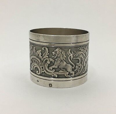 Superb French 950 Sterling Silver Napkin Ring Lions Scrolls Alphonse Debain 1883
