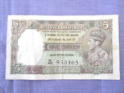 India 1937 5 rupees George VI pre-war note Nice grade Low Start L@@K