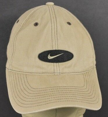 Beige Nike Co Logo Swoosh Sports Style Embroidered Baseball Hat Cap Adjustable