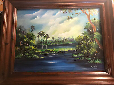 """Large Rochelle 2008 """"Florida River Landscape"""" Acrylic Painting - Signed/Framed"""