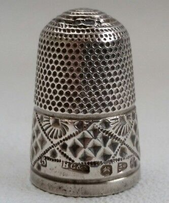 Vtg Victorian Sterling Solid Silver Henry Griffith HG&S Thimble 1897 Chester
