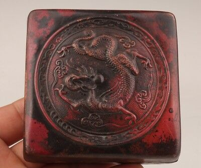 Valuable Chinese Red Copper Seal Box Old Relief Dragon Sacred Decoration