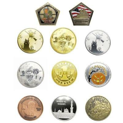 1Pcs Silver Gold Halloween Commemorative Coin Witch Coin Novelty Gift Coins Pro