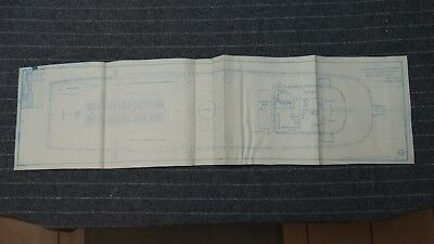 "(H1085-25) Original 1918 Blueprint Drwg 10"" x 39"" - Boat Deck Plan"