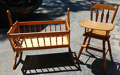 Vintage Baby Cradle Jenny Lind Style & Thayer Vintage High Chair