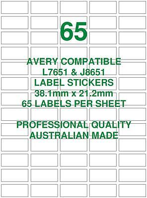 Avery L7651 & J8651 Compatible Address Label Stickers 65 X 10 Sheets Laser