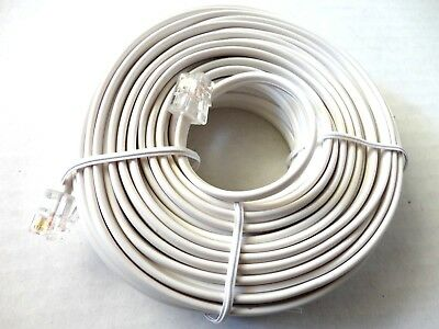 100 Foot Modular Phone/Telephone Wire Line Cord/Cable RJ11 6P4C WHITE 100ft 100'