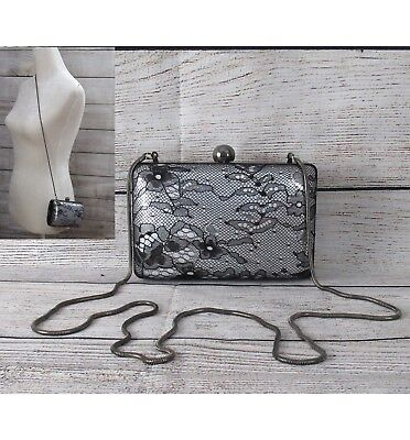 Franchi Evening Party METALLIC SILVER BLACK LACE Framed Clutch Handbag NEW