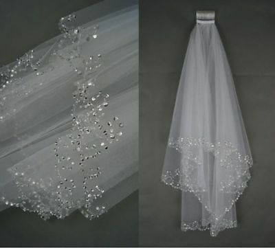 White/Ivory 1 pcs Wedding Bridal Veil Elbow Length Beading Stone Veils with Comb