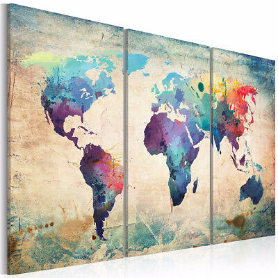 Colorful Art Retro World Map Canvas Prints Painting Unframe Wall Decor Xmas Gift