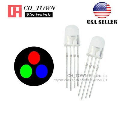 100pcs 5MM 4pin Common Anode Diffused RGB Tri-Color Red Green Blue LED Diodes