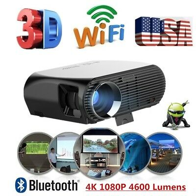 Upgrade Android 6.01 HD 1080P Home Cinema 3D WIFI Smart Multimedia LED Projector