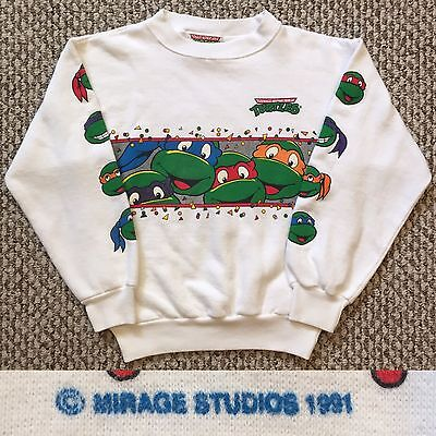 Vintage Vtg Teenage Mutant Ninja Turtles Sweatshirt Kids Youth White
