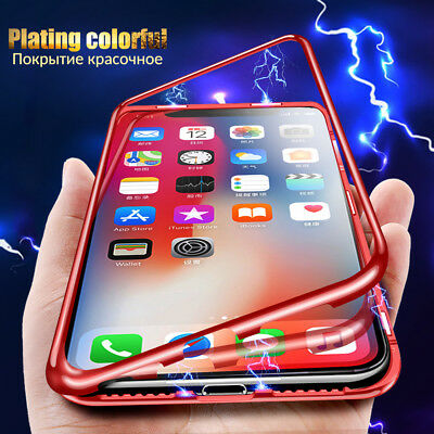 360 Magnetic Adsorption Tempered Glass Cover Case For iPhone XS Max X XR 6 7 8