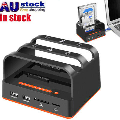 USB 3.0 Dual Bay SSD SATA HDD Hard Drive Docking Station TF/SD/MS/M2 Card Reader