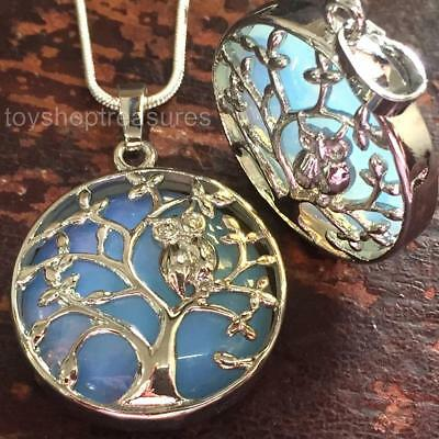 Opalite Crystal Owl Tree of Life Necklace Gemstone Pendant healing