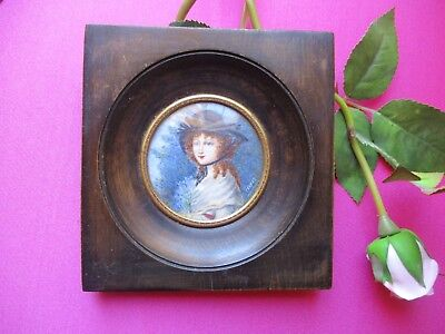 French Miniature Hand Painted Signed Young Lady in Hat Bunch  Flowers FREEPOST